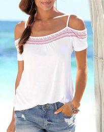 Атрактивна дамска тениска с голи рамене - код 33777 - 2