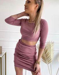 Дамски комплект къса блуза и пола рипс в цвят пудра - код 45288