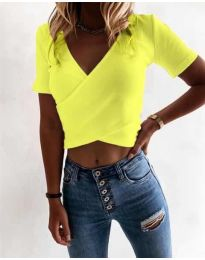 Дамска тениска в неоново жълто - код 1102