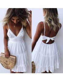 Бяла дамска рокля с голямо деколте - код 378