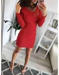 Дамска рокля по тялото в червено - код 3298