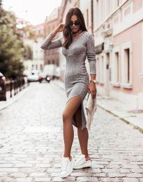 Изчистена дамска рокля в сиво - код 6593