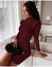 Елегантна рокля по тялото в цвят бордо - код 8484