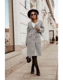 Дълго дамско палто в сиво  - код 5657
