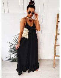 Дълга ефирна рокля в цвят черно - код 2218