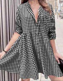 Дамска рокля на каре в черно - код 2401