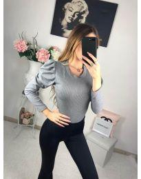 Дамска изчистена блуза в сиво с бухнали дълги ръкави - код 713