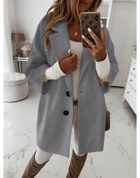 Дамско палто с копчета в сиво - код 413