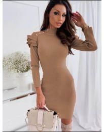 Дамска рокля в кафяво - код 2915