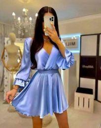 Елегантна дамска рокля в светлосиньо - код 9899