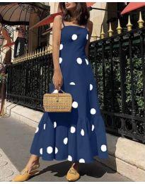 Дълга феерична рокля в тъмно синьо - код 7011