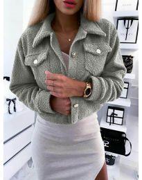 Дамско късо палто в сиво - код 9495