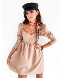 Елегантна рокля в бежово - код 390