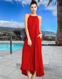 Дълга лятна рокля в червено - код 6999