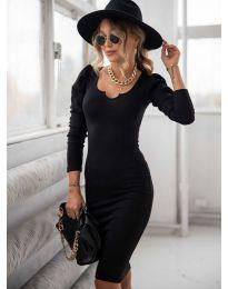 Дълга рокля по тялото в черно - код 11548