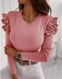 Дамска блуза в цвят пудра с къдрички - код 1653