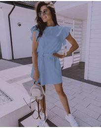 Стилна рокля в светло синьо с колан - код 0071