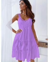 Свободна рокля с дантела в лилаво - код 3232