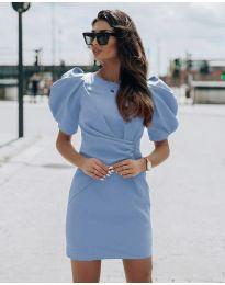 Атрактивна дамска рокля в светлосиньо - код 9438
