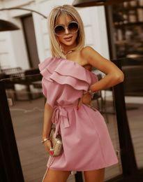 Кокетна дамска рокля в цвят пудра - код 7100