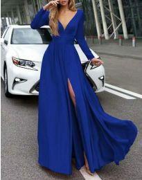 Дълга елегантна рокля в синьо - код 3428