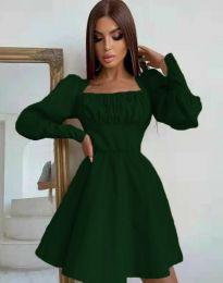 Стилна дамска рокля в тъмнозелено - код 8150