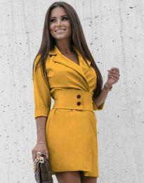 Дамска рокля в цвят горчица - код 1357