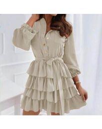 Атрактивна рокля в бежово - код 7356