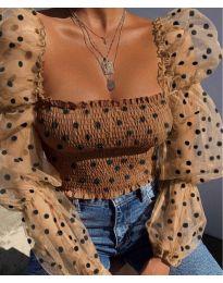 Стилна блуза с ефектни ръкави в бежово - код 4419