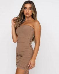 Стилна дамска рокля в капучино - код 11941