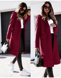 Дълго дамско палто в бордо - код 3435