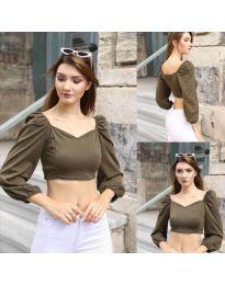 Къса дамска блуза в масленозелено - код 3099
