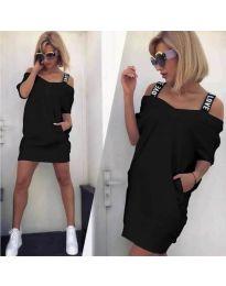 Свободна дамска рокля в черно - код 6964