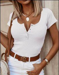 Дамска тениска в бяло с копчета - 3233