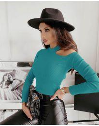 Дамска блуза в цвят тюркоаз - код  4413