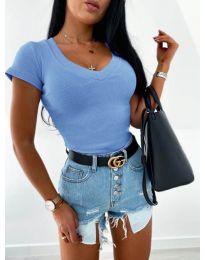 Изчистена дамска блуза в светло синьо - код 756