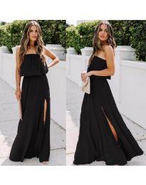 Дълга рокля с цепка в цвят черно - код 061