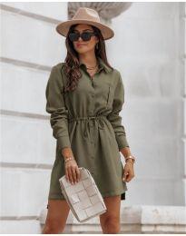 Рокля тип риза в маслено зелено - код 132