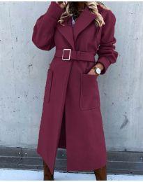 Дълго дамско палто с колан в бордо - код 423