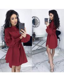 Елегантна рокля в бордо - код 6364