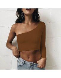 Дамска блуза в кафяво с голо рамо - код 2006