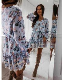 Свободна синя рокля на цветя - код 101