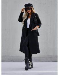Дълго дамско палто в черно - код 9493