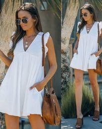 Къса дамска рокля в бяло - код 7141