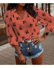 Дамска блуза в цвят праскова - код 1619