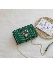 Дамска чанта в зелено с ефектен десен - код B94