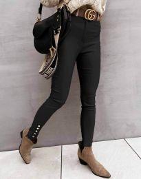 Втален дамски панталон в черно - код 0123