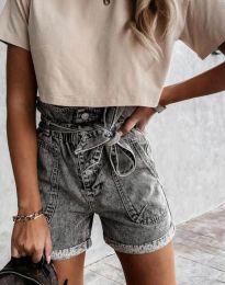 Къси дънкови панталонки в сиво - код 4525