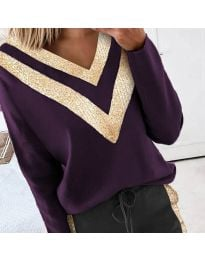 Дамска блуза в тъмнолилаво - код 2190