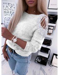 Дамска пуловер  в бяло - код 7373